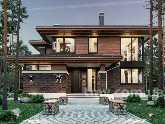 Zweistöckiges Haus im Wright-Stil mit einer Terrasse | homify