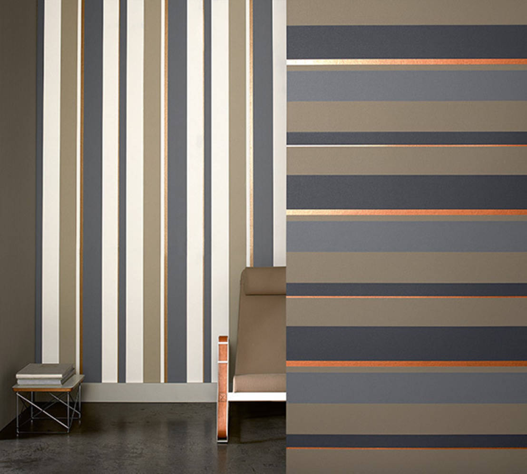 Papel pintado de rayas horizontales o verticales for Papel de rayas para pared