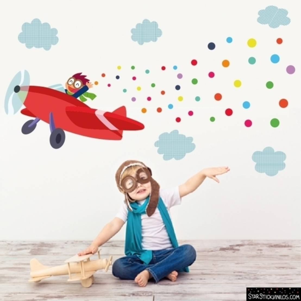 Vinilo infantil avi n con confeti de starstick homify for Adhesivos para pared infantiles