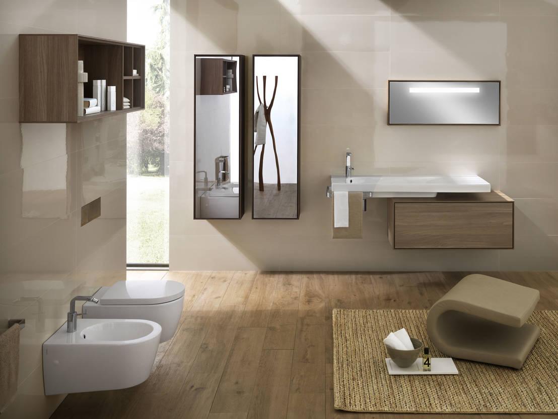 Il bagno moderno con lo specchio contenitore - Ceramiche bagno moderno ...