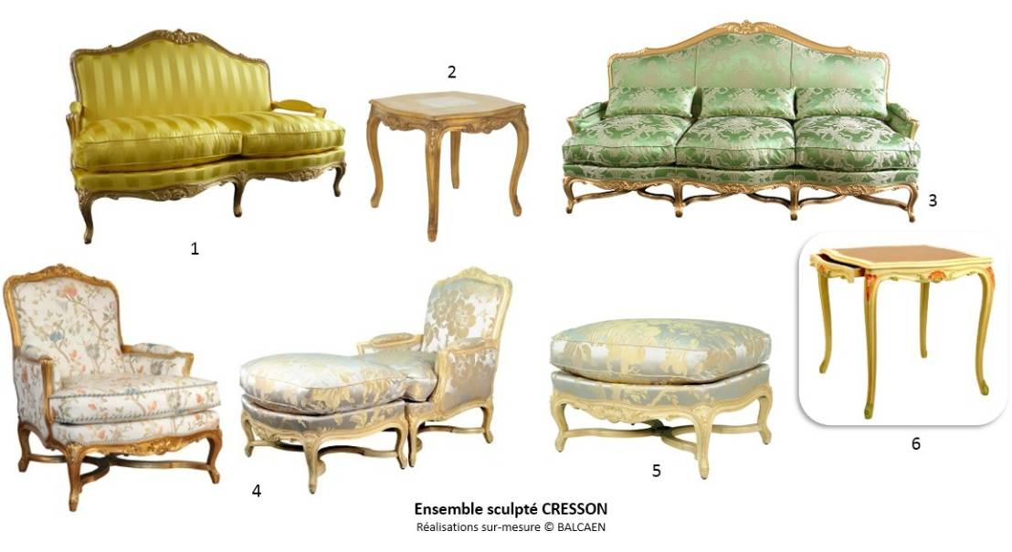 Ensemble de salon style louis xv par balcaen mobilier de - Salon du mobilier paris ...