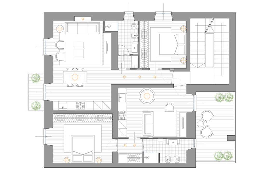 Ristrutturazione appartamenti di elisa rizzi architetto for Planimetrie di case di piccoli laghi
