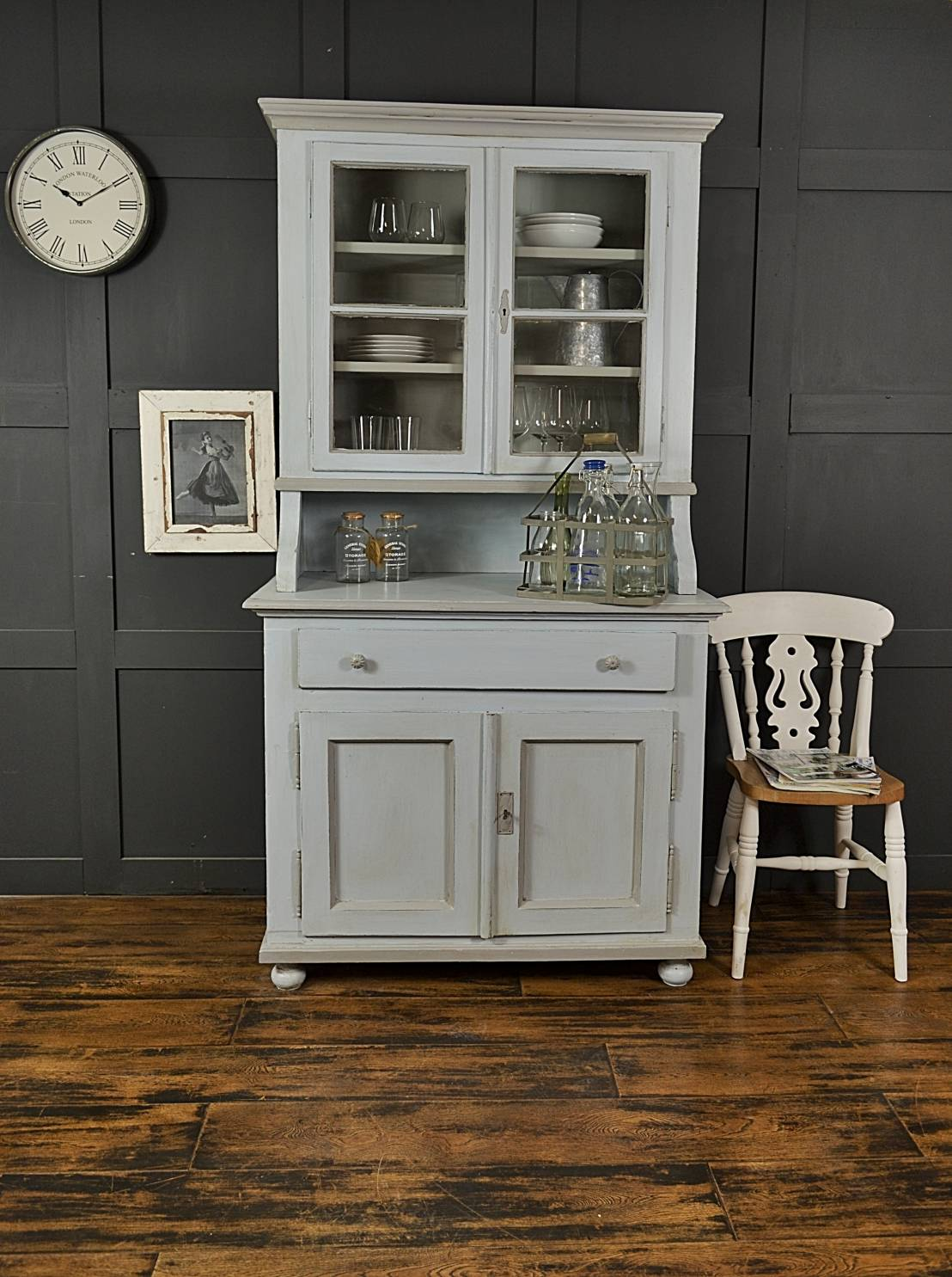shabby chic pastel blue grey antique pine kitchen dresser by the treasure trove shabby chic. Black Bedroom Furniture Sets. Home Design Ideas