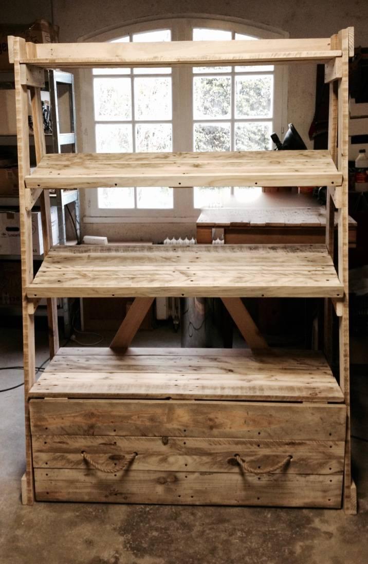 meuble tag res tiroir en palettes pour picerie vrac. Black Bedroom Furniture Sets. Home Design Ideas