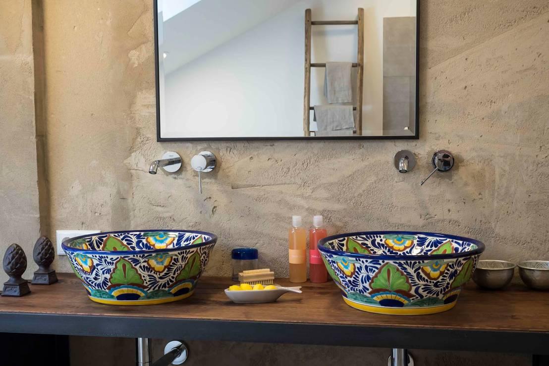 Originelle handbemalte waschbecken für die gäste toilette von ...