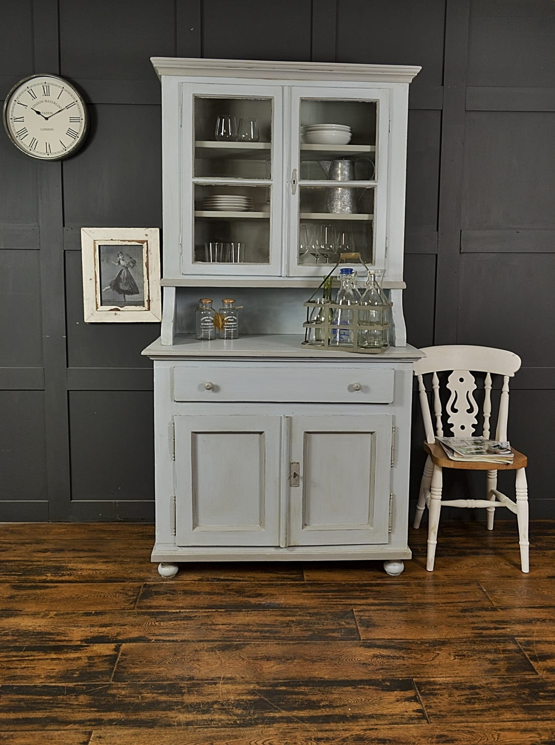 Shabby Chic Pastel Blue Grey Antique Pine Kitchen Dresser By The Treasure Trove Vintage Furniture