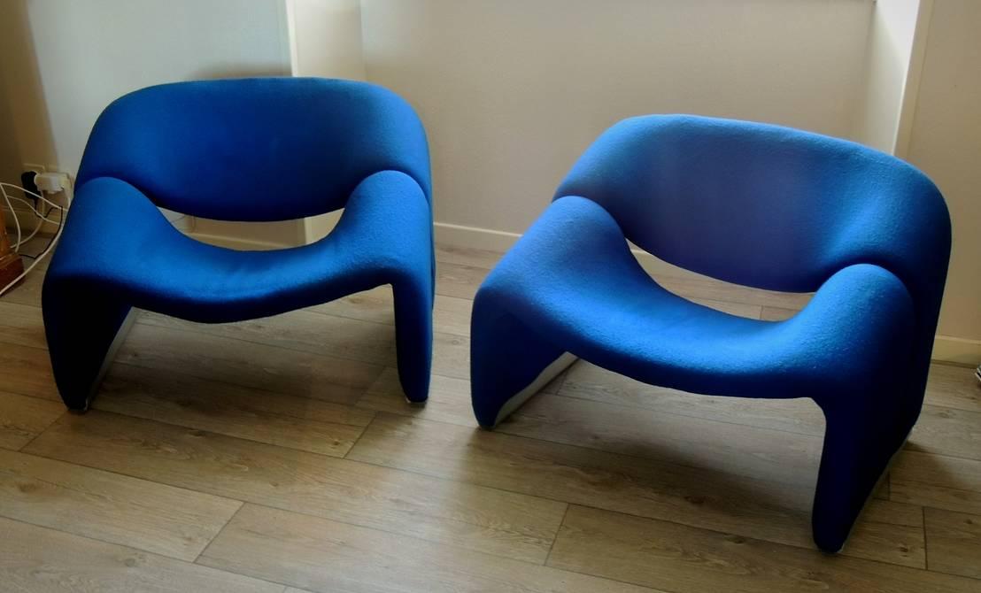 paire de fauteuils f598 groovy de pierre paulin 1973 dition artifort de martin la brocante. Black Bedroom Furniture Sets. Home Design Ideas