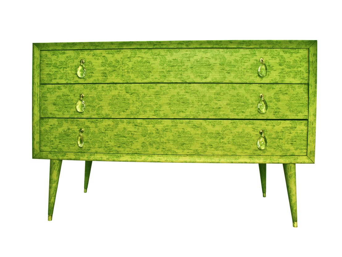 Canterano com verde rivestito con carta da parati in for Cucinare anni 70