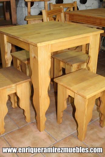 Mesas de madera maciza de enrique ramirez muebles for Muebles artesanales