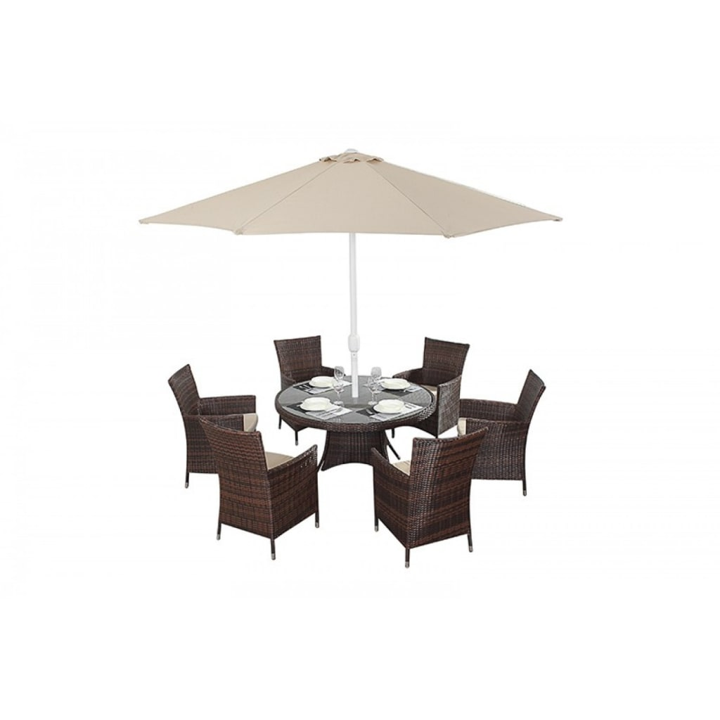 Interior design ideas architecture and renovating photos  : Bonsoni Round Dining Set 6 Piece Colour Brown Includes a Large Glassed Top Circular Table Six Chairs and a Parasol Rattan Garden Furniture 32 from www.homify.com size 1024 x 1024 jpeg 39kB