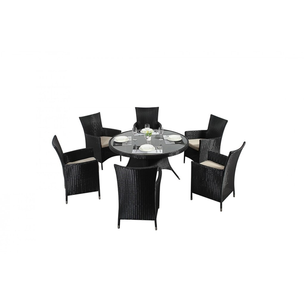 Interior design ideas architecture and renovating photos  : Bonsoni Round Dining Set 6 Piece Colour Black Includes a Large Glassed Top Circular Table Six Chairs and a Parasol Rattan Garden Furniture 36 from www.homify.com size 1024 x 1024 jpeg 41kB