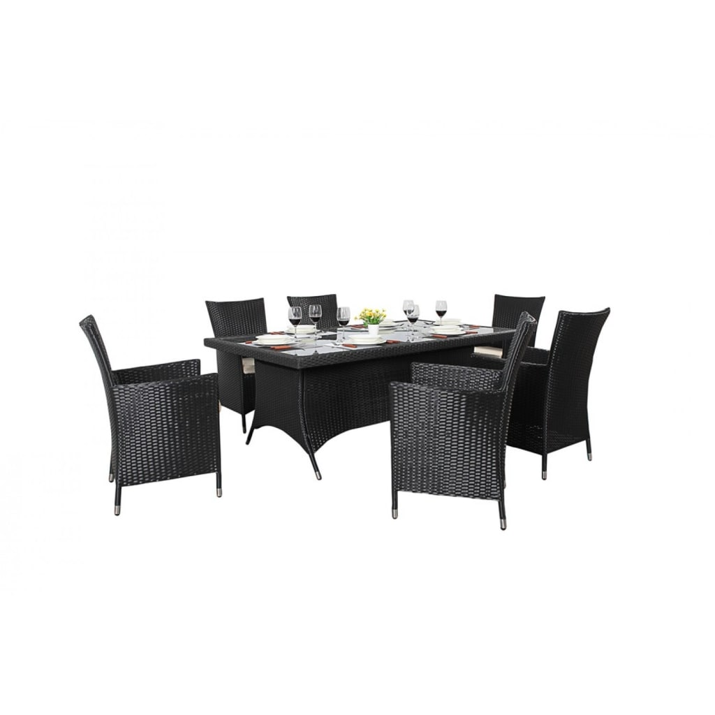 Interior design ideas architecture and renovating photos  : Bonsoni Rectangle Dining Set 6 Piece Colour Black Includes a Rectangular Glass Top Table Six Chairs and a Parasol Rattan Garden Furniture 32 from www.homify.com size 1024 x 1024 jpeg 45kB