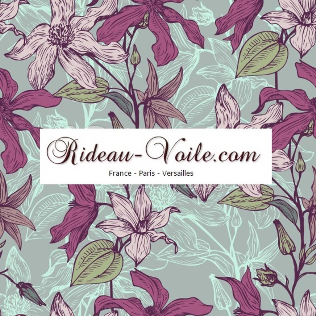rideau et double rideaux fleurs tissus ameublement de. Black Bedroom Furniture Sets. Home Design Ideas