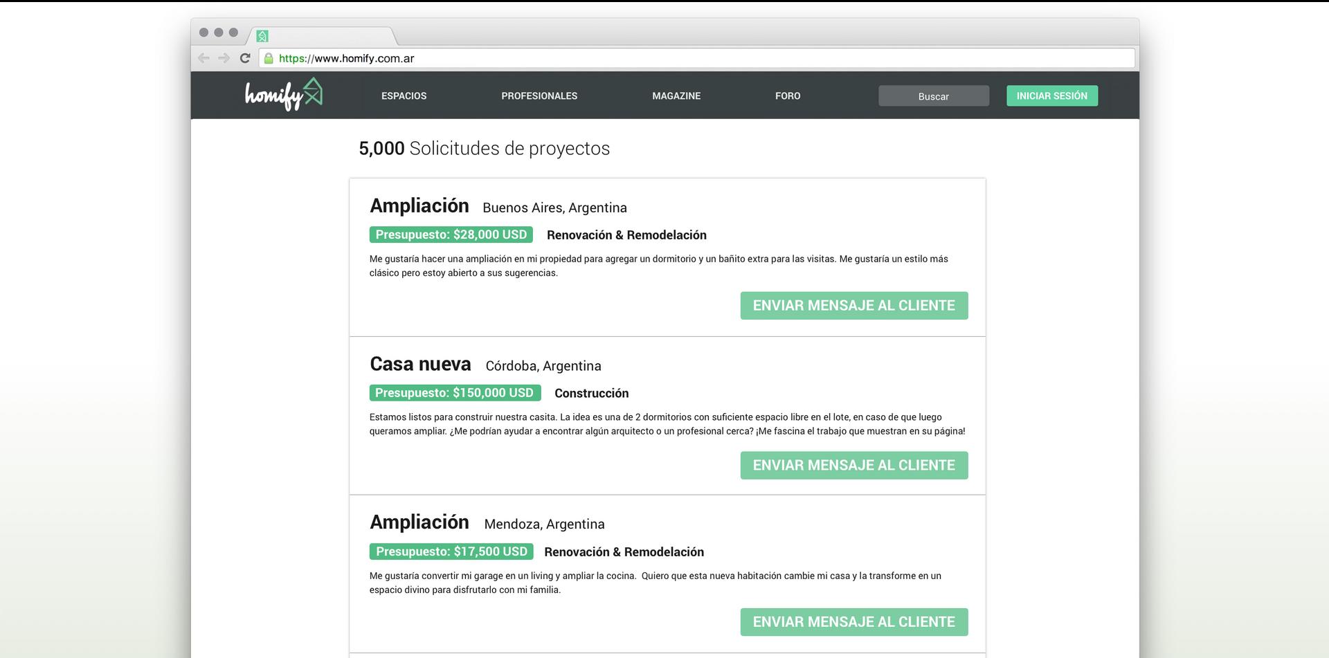 Acceso ilimitado a solicitudes de proyectos