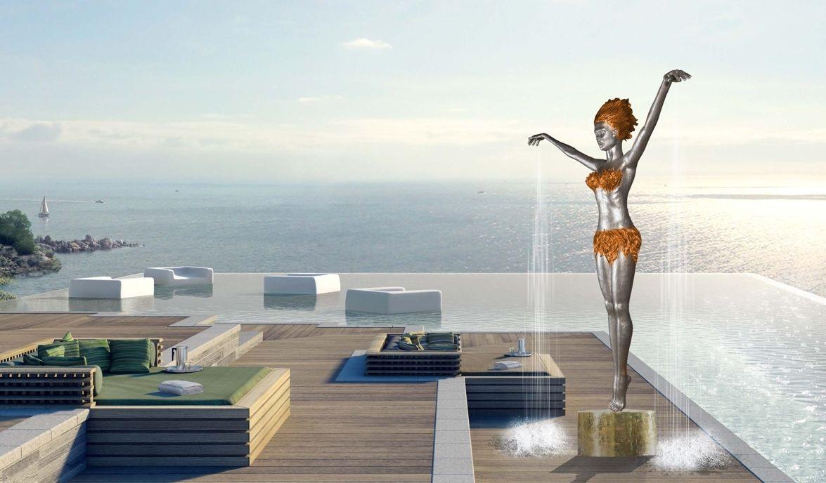 Skulpturen bronze design garten pool bad duschskulpturen ene slawow eneos shower fireice