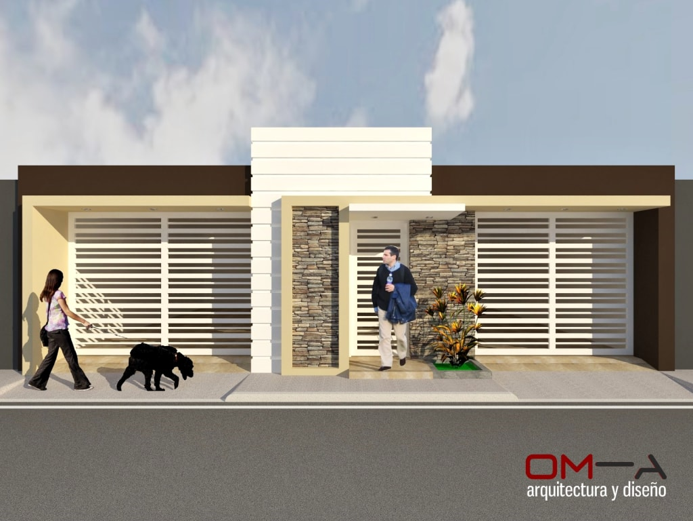 Dise o de fachada de vivienda pareada casas de estilo for Diseno de apartamentos para estudiantes