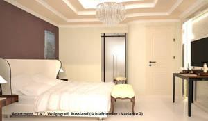 """Innenarchitektonische Neugestaltung Apartment """"T.V."""" - Wolgograd, Russland:  Schlafzimmer von GID│GOLDMANN-INTERIOR-DESIGN - Innenarchitekt in Sehnde"""