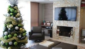 Detalhe lareira: Salas de estar modernas por Triple Arquitetura