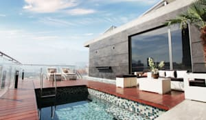 Vista a la alberca: Albercas de estilo  por Diez y Nueve Grados Arquitectos