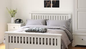 Ascot White 4ft6 Double Bed: country Bedroom by The Cotswold Company