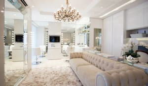 Estúdio de Maquiagem e Cabelo Cristina Maciel: Espaços comerciais  por Rolim de Moura Arquitetura e Interiores