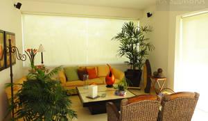 tropical Living room by Persianas La Sombra
