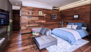 Casa Basaltica: Recámaras de estilo minimalista por grupoarquitectura