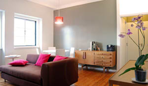 Remodelação T4 . Bairro de Alvalade, Lisboa: Salas de estar ecléticas por BL Design Arquitectura e Interiores