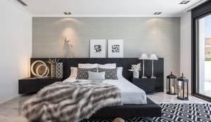 Dormitorio con simetrías en gris: Dormitorios de estilo mediterráneo de Laura Yerpes Estudio de Interiorismo