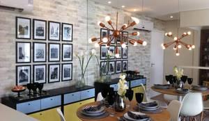 Decorado 60m²: Salas de jantar  por Fabiana Rosello Arquitetura e Interiores