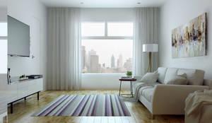 Departamento minimalista: Livings de estilo minimalista por SF Render