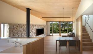 高台の家: Atelier Squareが手掛けたリビングです。
