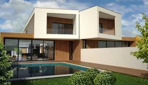 Zona de lazer exterior: Casas  por PROJETARQ
