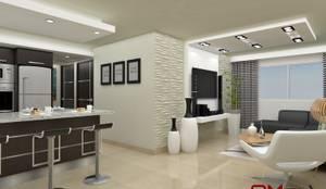Diseño interior en apartamento, espacio sala-cocina: Cocinas de estilo moderno por om-a arquitectura y diseño