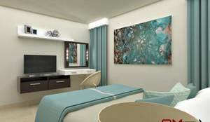 Diseño interior en apartamento, espacio dormitorio principal: Cuartos de estilo  por om-a arquitectura y diseño,