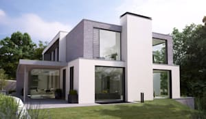This 3 floor residence fully adopts the qualities of a steeply sloping site with views over Dublin Bay: modern Houses by Des Ewing Residential Architects