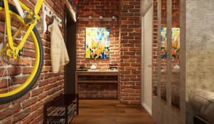 Studio in loft style: industrial Corridor, hallway & stairs by design studio by Mariya Rubleva