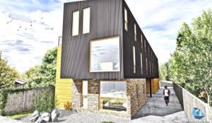 MA Edificio Residencial: Casas de estilo moderno por NidoSur Arquitectos