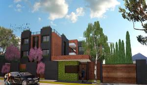 FACHADA  PRINCIPAL: Paredes de estilo  por Del Castillo Arquitectos