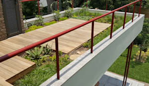 roof garden with timber deck:  Patios by Human Voice Architects, Modern