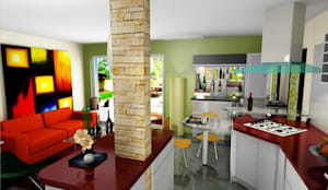 Cocinas de estilo moderno por ESTUDIO DE ARQUITECTURA C.A