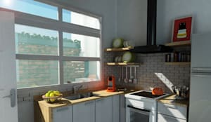 Render Reforma Cocina: Cocinas de estilo moderno por Dsg Arquitectura
