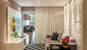 Apartamento Jardim Oceânico: Salas de estar modernas por Priscila Boldrini Design e Arquitetura