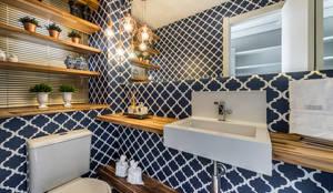 RESIDÊNCIA I O+L: Banheiros modernos por Treez Arquitetura+Engenharia
