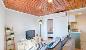 Soggiorno in stile in stile Scandinavo di menta, creative architecture