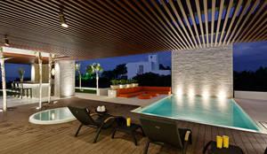 Casa de Playa LM, Piscina: Albercas de estilo  por LUMINICA Iluminación