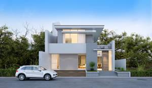 Fachada Casa 1: Casas modernas por Flávia Kloss Arquitetura de Interiores