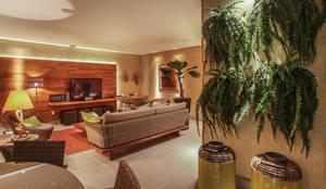 Residência VV: Salas de estar rústicas por fatto arquitetura