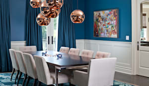 Blue & Rose Gold Dining Room:  Dining room by Douglas Design Studio,