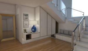 Casa CA231 - Entrada - simulação 3D: Corredores e halls de entrada  por The Spacealist - Arquitectura e Interiores